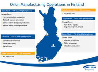 Orion manufacturing operations in Finland